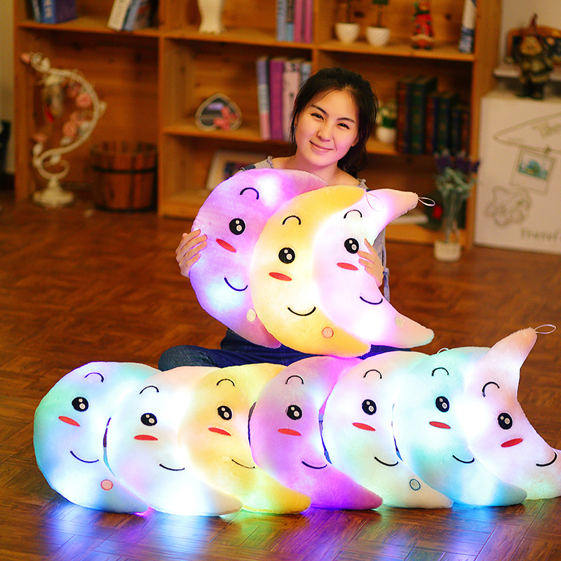 Moon Pillow Plush Toys Cute Luminous Toy Led Light Glow In Dark Doll for Children Kids Just6F