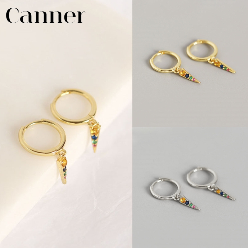 Unisex 925 Sterling Silver Vintage Single Row Black Five Pointed Star Smooth Face Round Hoop Earrings