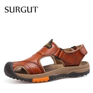 Image 1 - SURGUT 남성 신발 정품 가죽 남성 샌들 여름 남성 신발 비치 패션 야외 캐주얼 미끄럼 방지 운동화 신발 사이즈 46