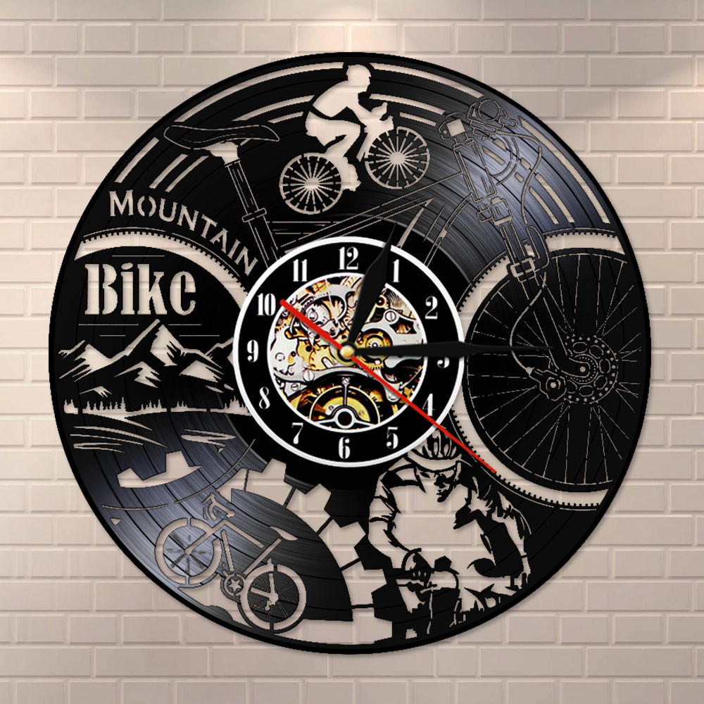 Reloj de pared con disco de vinilo para bicicleta de montaña, Retro, negro, decoración para el hogar, reloj de pared silencioso, regalo de aventura para bicicleta