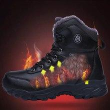 Plus velvet High-top Hiking shoes Men Waterproof Non-slip Trekking Sneakers Winter Snow Keep Warm zapatillas impermeables hombre цена