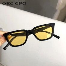 OEC CPO – lunettes de soleil Vintage pour femmes, petites lunettes carrées de marque, verres jaunes clairs, Punk, UV400