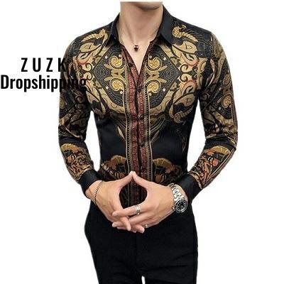 2020 Band Autumn Mens Gold Shirts Social Club Shirt Luxury Baroque Shirts Camisa Slim Fit Black Gold Mens Designer Shirts
