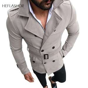 HEFLASHOR Jacket Button-Coat Windbreaker Slim-Fit Long-Sleeve Men's Winter Fashion Autumn