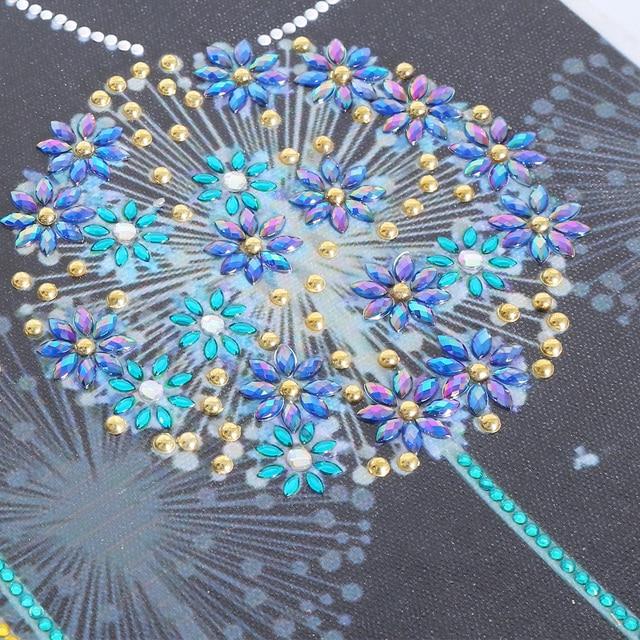 5D perceuse bricolage diamant peinture en forme spéciale diamant broderie pissenlit fleur fait maison cadeau strass diamant autocollant mural