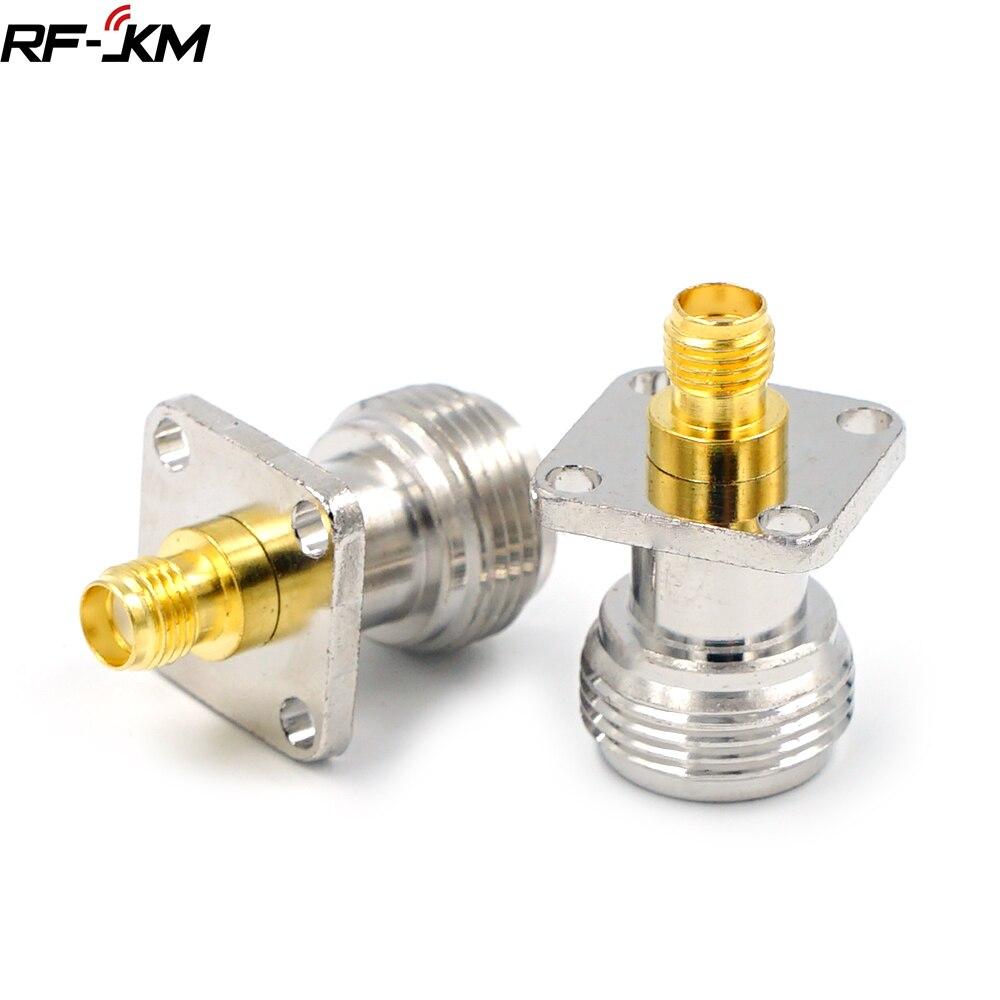 1Pcs Tipo N Fêmea Para SMA Fêmea RF Conector do Adaptador de Teste Conversor 4 Flange Buraco Painel