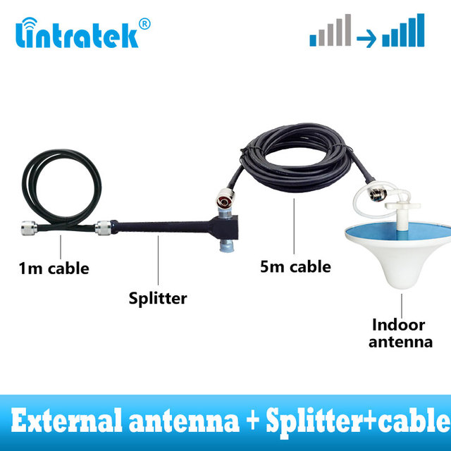חיצוני אנטנת סט contians 2 דרך ספליטר כבל חליפת עבור שדרוג 2G 3G 4G GSM אות מהדר ערכת כיסוי רחב 800 ~ 2500mhz