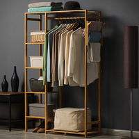 Minimalist Modern Bamboo Wardrobe Baby Locker Personal Closet Bedroom Furniture Storage Cubes Cabinet Dress Rack