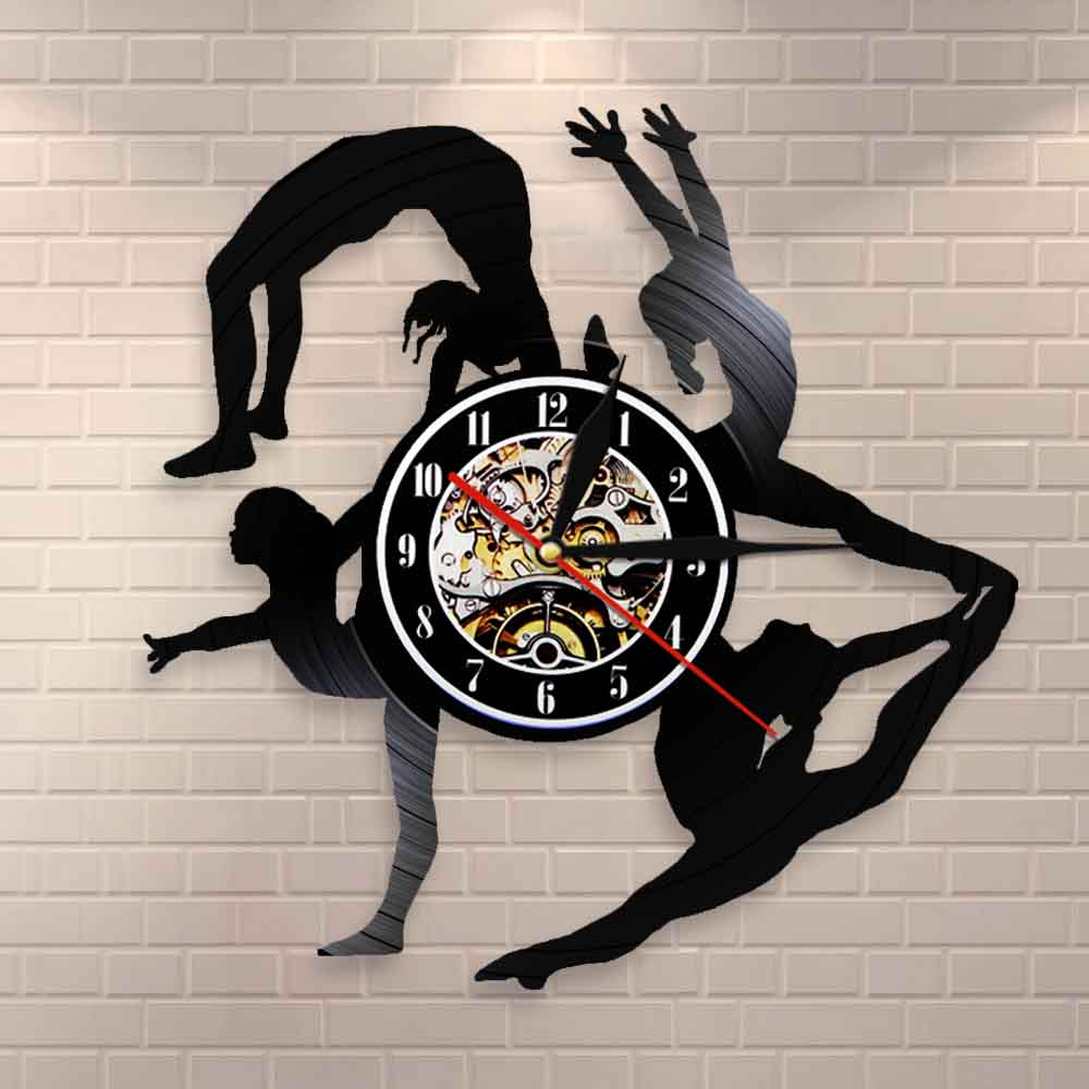 Gymnastics Girls Silhouettes Wall Clock Sports Girl Tumbling Vinyl Record Clock Gymnast Wall Art Dancing Room Wall Decor