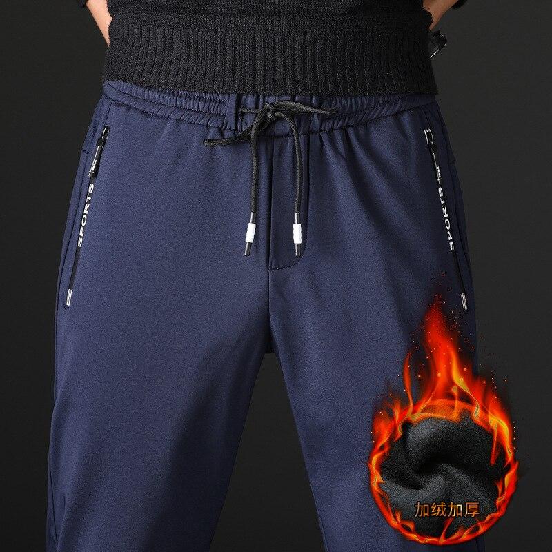 winter Fleece Fluff Thick warm Casual Pants men Business Straight Plaid cotton pant gray Black trousers male big size 36 38 42