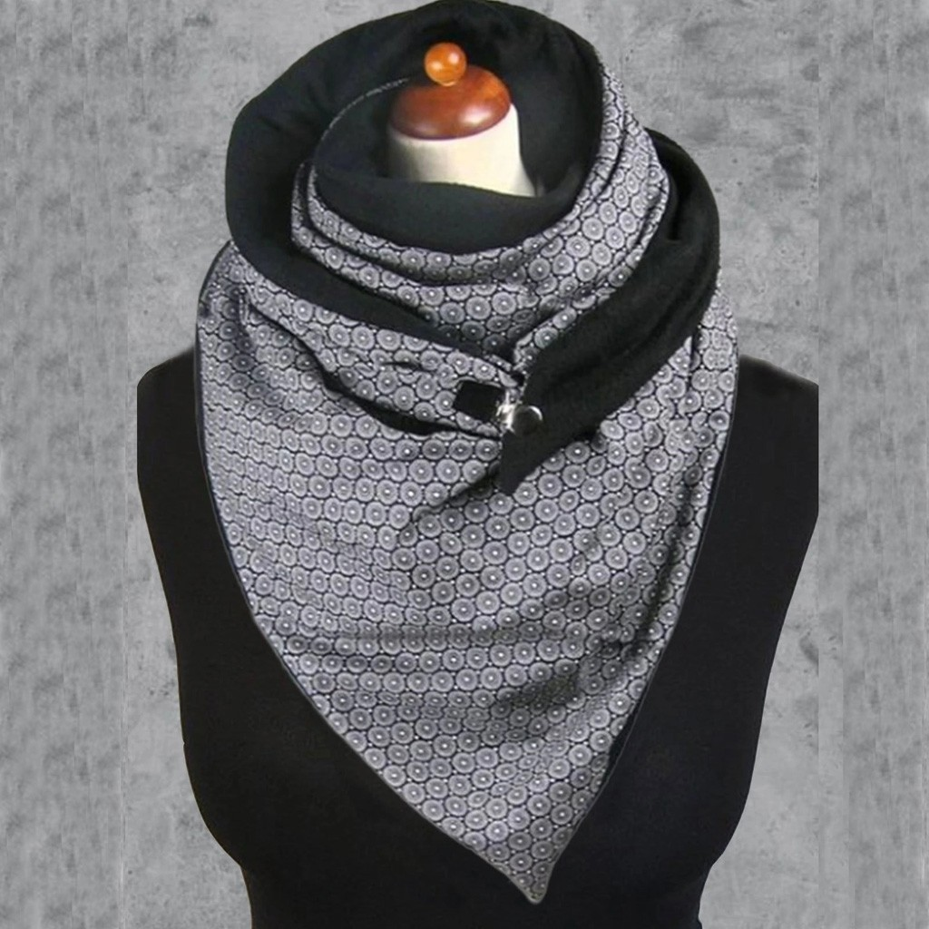 Fashion Women Soild Dot Printing Button Soft Wrap Casual Warm Scarves Shawls *