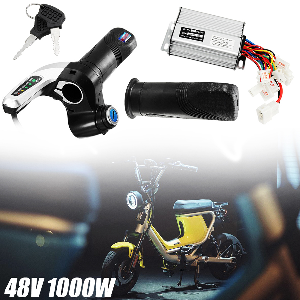 1SET 48V 1000W Motor Brush Controller+Throttle Grips +2Keys For Electric Bike Scooter Accessories