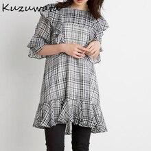 Kuzuwata – chemisier en mousseline de soie pour femme, col rond, manches longues, taille haute, hanche trapèze, élégant, à volants