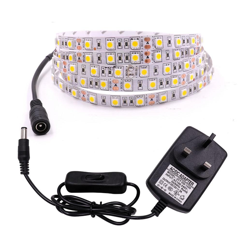 1m 5m Led Strip Light 12V 5050 SMD 60LED/M LED Tape Ribbon With DC Connector EU/US/AU/UK Switch Plug Waterproof Home Decoration