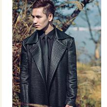 Мужской Тренч, Длинная ветровка, мужское шерстяное пальто, клетчатый Средний размер длинное Свободное пальто с поясом, Оригинальная одежда большого размера