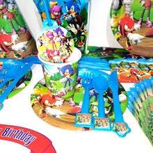 135/68 pçs sonic festa de aniversário decoração suprimentos conjunto palhas blowout guardanapos toalha de mesa copos placas conjunto de utensílios de mesa descartáveis