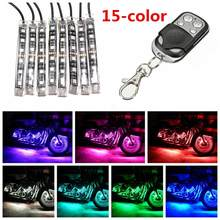 12V 8X 15 Color Car RGB LED Strip Light Decorative Light SMD 5050 Remote Glowing Multicolor ATV UTV Motorcycle SportBike Scooter(China)