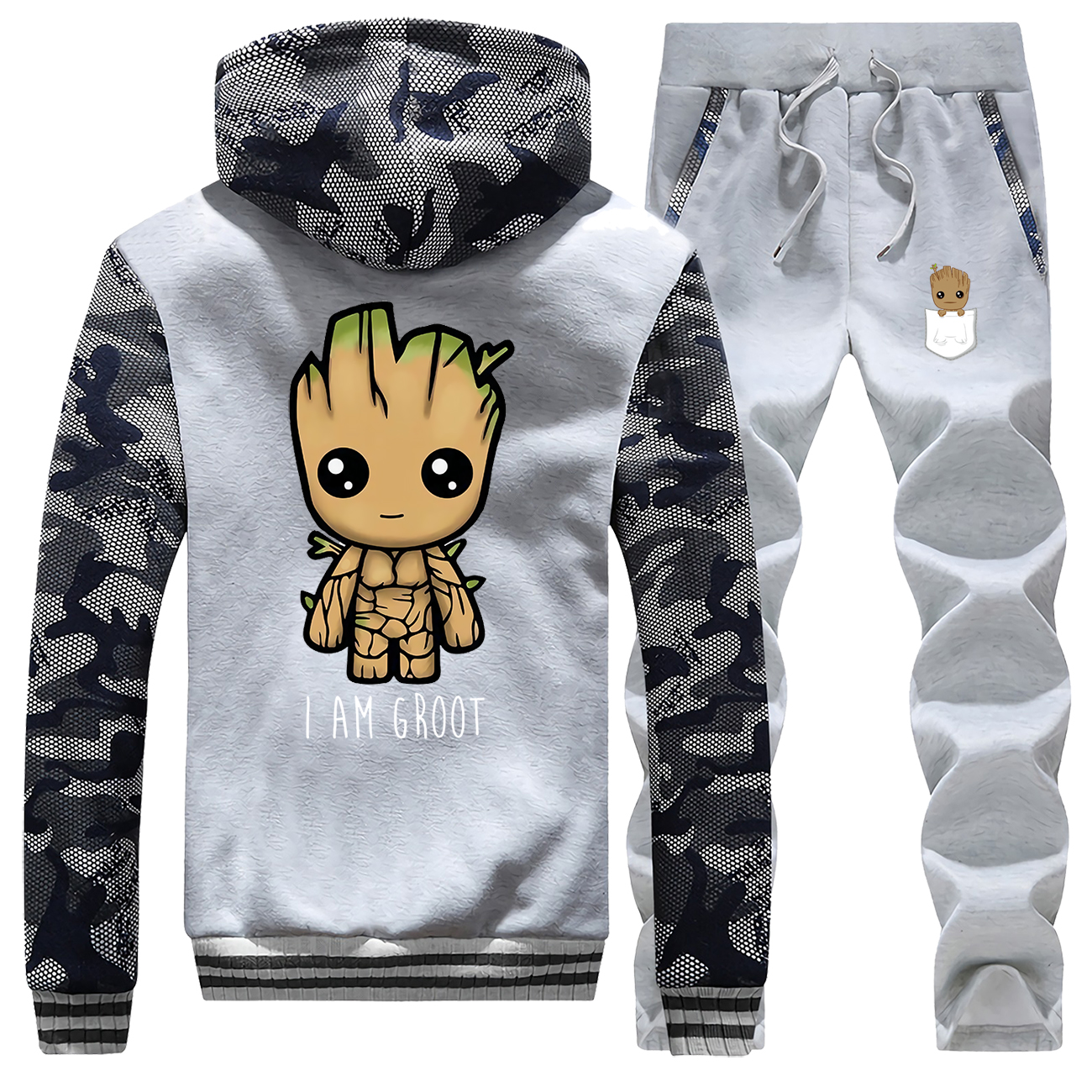 Hot Sale Winter Guardians Of The Galaxy Cartoon Cute Groot Camouflage Sportswear Fashion Hoodie Warm Jacket+Pants 2 Piece Set