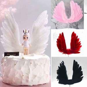 Image 1 - 天使の羽の旗ケーキトッパー結婚式誕生日パーティーベーキングデザートモールドバレンタインデーのケーキ装飾用品