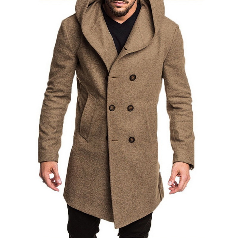double breasted coat Men Trench Coat hoody Jacket Spring Autumn Overcoats Casual Woolen Trench Coat for Men Clothing 2019