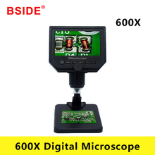 BSIDE 600X Digital Microscope Electronic Video Microscope 4.3 Inch HD LCD Soldering Microscope Phone Repair Magnifier + Stand portable 600x 3 6mp digital microscope 4 3 lcd electronic hd video microscopes usb endoscope magnifier camera for mobile phone