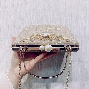 Image 4 - ZD1422 sac à main argenté de soirée pour femmes, pochette de luxe de styliste, sacoche à épaule en cristal Vintage, bourse de mariage