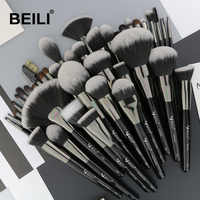 BEILI Black Professional 40Pcs complete Makeup Brush Set Foundation Blending Eyebrow Concealer powder Soft Synthetic Hair brush