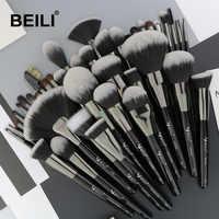 Conjunto de brochas de maquillaje de 40 piezas profesionales negro de BEILI, brocha de pelo sintético suave de polvo corrector de cejas