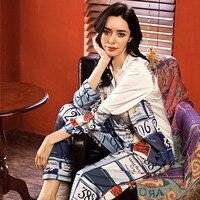 fashion 2 pieces pajamas sets turn down collar pajamas for women ice satin silk home service autumn long sleevefemale sleepwear