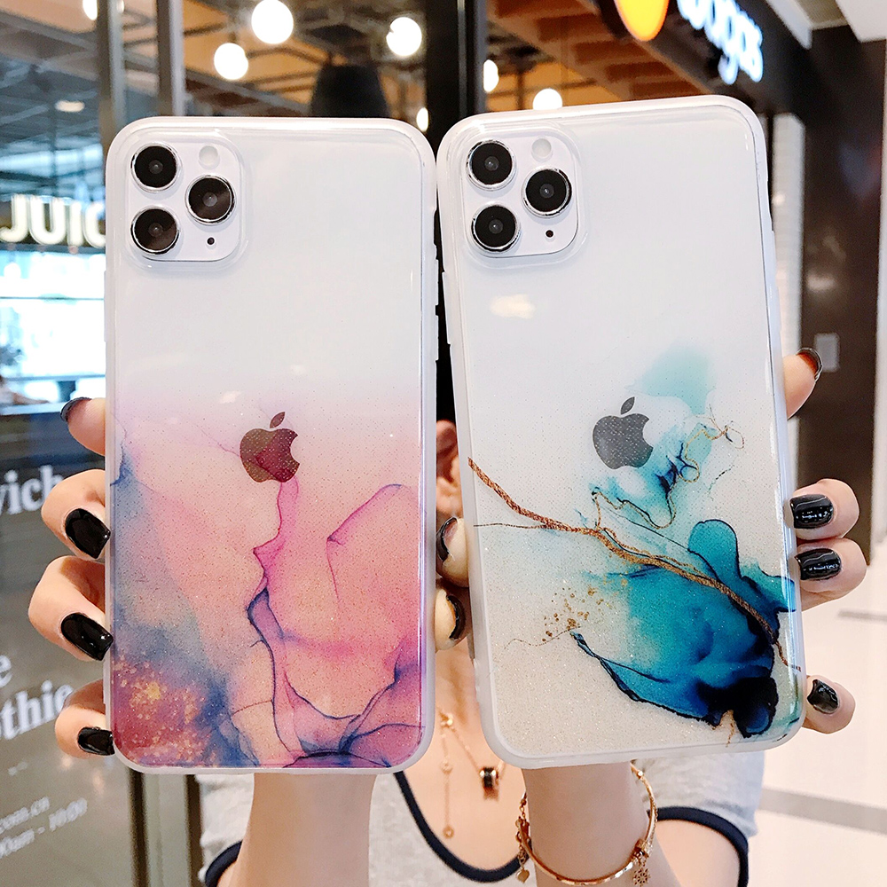 LOVECOM Vintage Colorful Phone Case For iPhone 12 11 Pro Max XR XS Max 7 8 Plus X Full Body Soft IMD Clear Back Cover Coque Gift