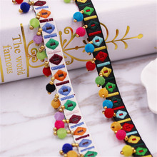Lace Trim Bohemian Ethnic Embroidery Ribbon Colorful Round Ball Silk Tassel Fringe Pompom Beads Collars Accessories