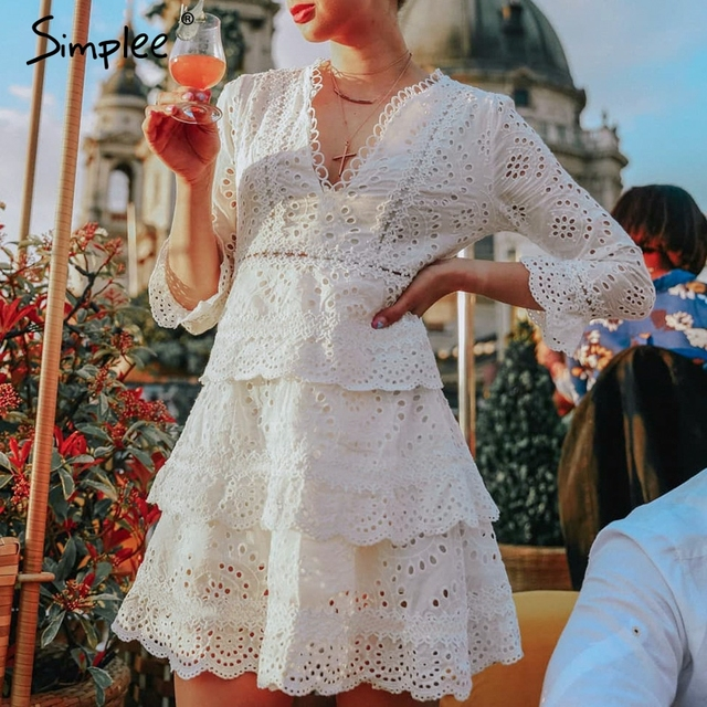 Simplee Hollow out cotton embroidery ruffled women dress A line v neck long sleeve female sexy dress Elegant party midi dress