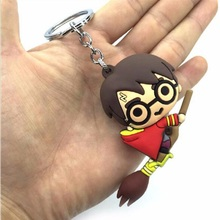 Cute Harriom  Car Keychain 3D Silicone Figure Potter Toy Cartoon Halloween Party Show Decoration Gift