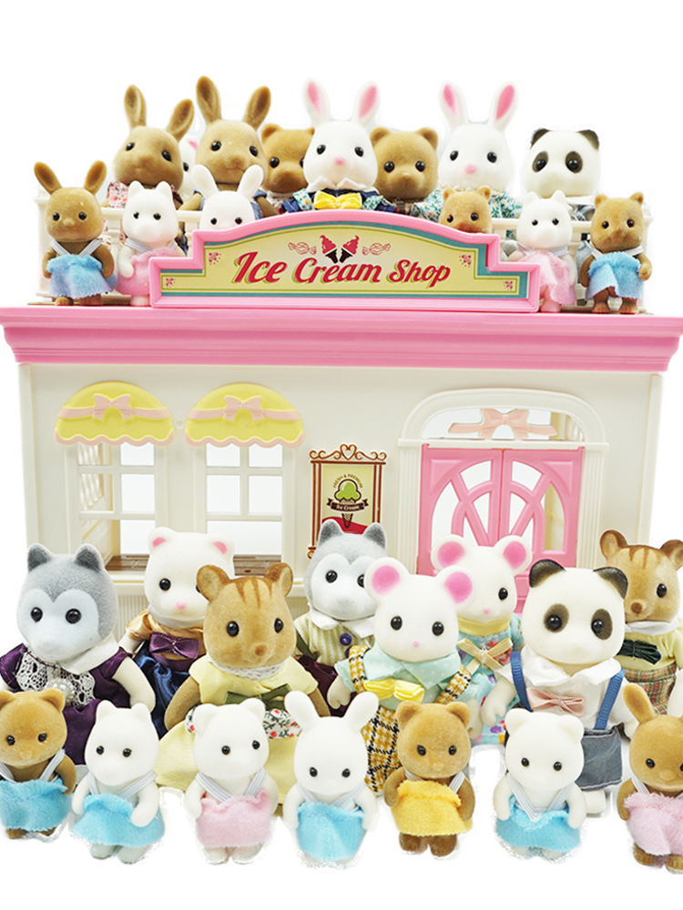 Pretend-Play-Set Dollhouse Furniture Miniature Panda-Girl Animal Family Rabbit Children's