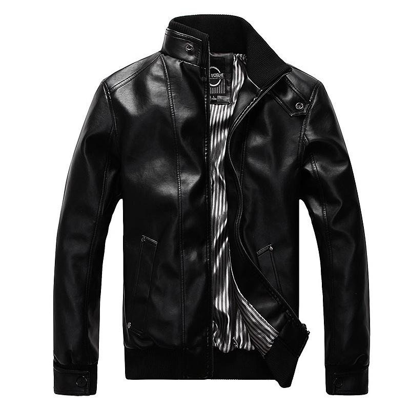 New Fashion Motorcycle Leather Jackets Men Leather Coat Casual Slim Coats With Zipper Man Outerwear Stand Collar Jackets Jaqueta