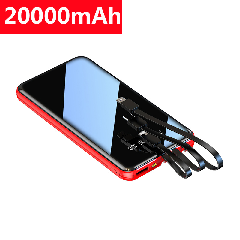 20000mAh Power Bank For Xiaomi Iphone Samsung Powerbank Full Mirror Screen Portable Fast Charger External Battery Pack Poverbank
