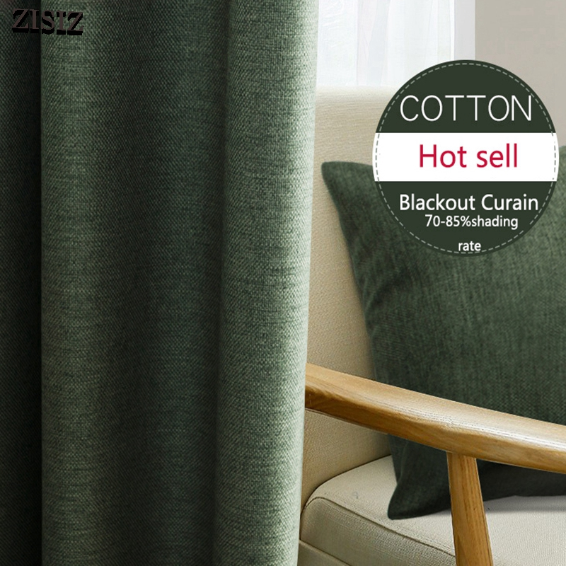 ZISIZ Modern Faux Linen Blackout Curtains For Living Room Brdroom Solid Color Thermal Insulated Curtains Window Blinds Drapes