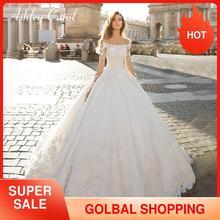 Ashley Carol Long Sleeve Princess Wedding Dress 2020 Cap Sleeve Satin Vintage Bridal Dresses Graceful Boat Neck Bridal Gowns