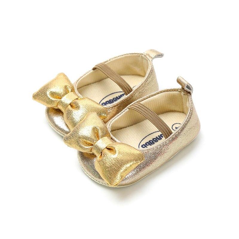 Zapatos suaves para caminar para niñas pequeñas de 0 a 12M, calzado informal con lazo 3D, zapatos de princesa infantiles de Color puro
