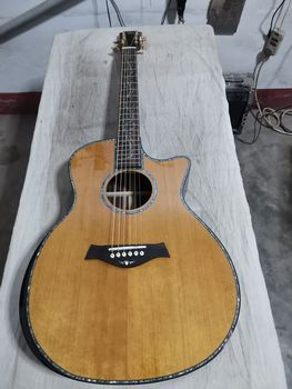 free shipping custom acoustic guitar solid cedar top SP14 acoustic guitar,Real abalone Ebony fingerboard cutaway beauty guitar free shipping 2014 new gib lp custom black color electric guitar gold accessories ebony fingerboard oem brand guitar in china