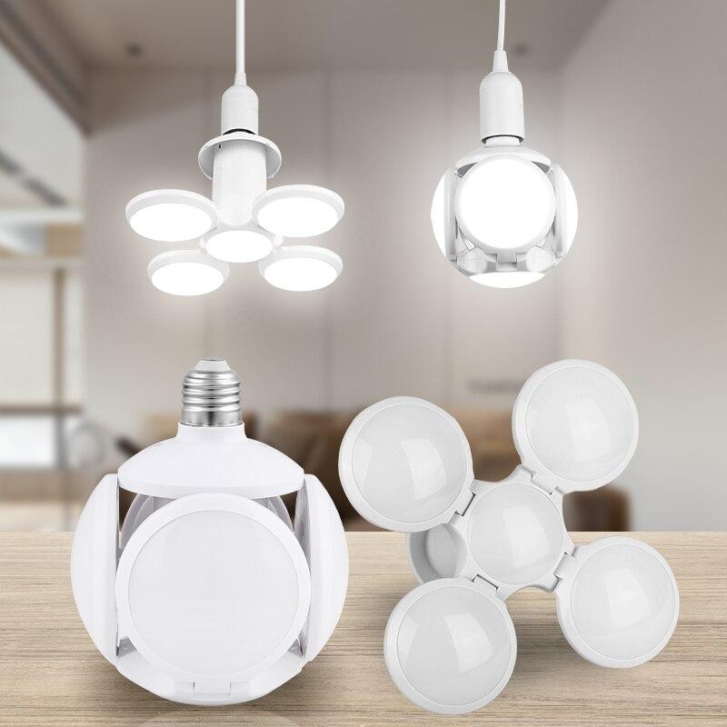 E27 LED Lamp 220V Folding Leds Bulb 30W 60W 45W Deformal Football Light UFO Fan Blade Bulbs For Garage Warehouse Home Lighting