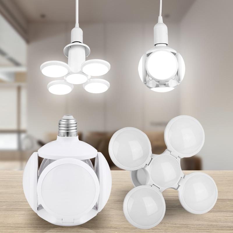 LED Lamp E27 Folding Bulb 60W 45W Football UFO Lamp Fan Blade Bulb 220V Bubble Ball Super Bright Angle Adjustable Light For Home