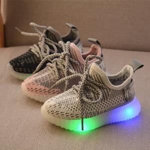 Image 5 - LED ışık ayakkabı çocuk çocuk kız spor rahat işıklı Sneakers yürümeye başlayan çocuklar için ışık örgü hava örgü öğrenci