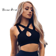 FlowerDance Yoga Bra Sports Crop Top Woman Brassiere Femme Push Up Cotton Stuffed Gym Cross Straps Sexy Cut Out