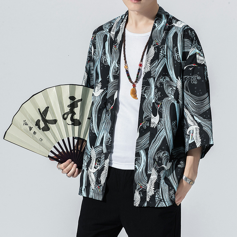 2019 Chinese Style Kimono Men Shirt Casual Yukata Cardigan Streetwear Harajuku Japanese Fashion Print Coat Jackets Asian Clothes