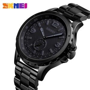 Image 1 - SKMEI אופנה גברים שעונים למעלה מותג יוקרה קוורץ שעון גברים עמיד למים IP שחור נירוסטה ציפוי relogio masculino 1513