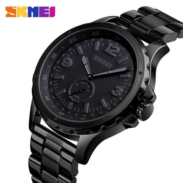 SKMEI אופנה גברים שעונים למעלה מותג יוקרה קוורץ שעון גברים עמיד למים IP שחור נירוסטה ציפוי relogio masculino 1513