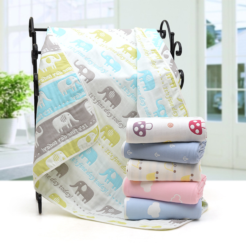 Newborn Baby Cotton Blanket Infant Cartoon Muslin 6 Layers Thick Breathable Swaddles Blankets For Kids Bedding Receiving Blanket