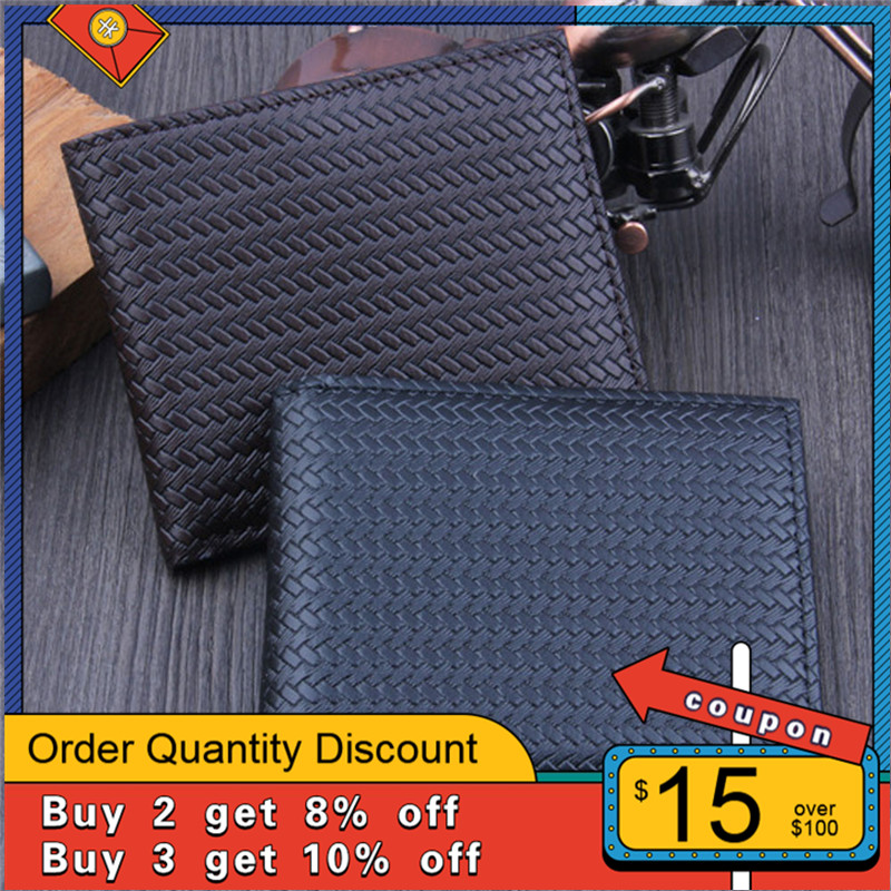 Men's Wallet Classic Bifold Business Leather Wallet Casual Solid Color ID Credit Card Holder Short Purse Pockets