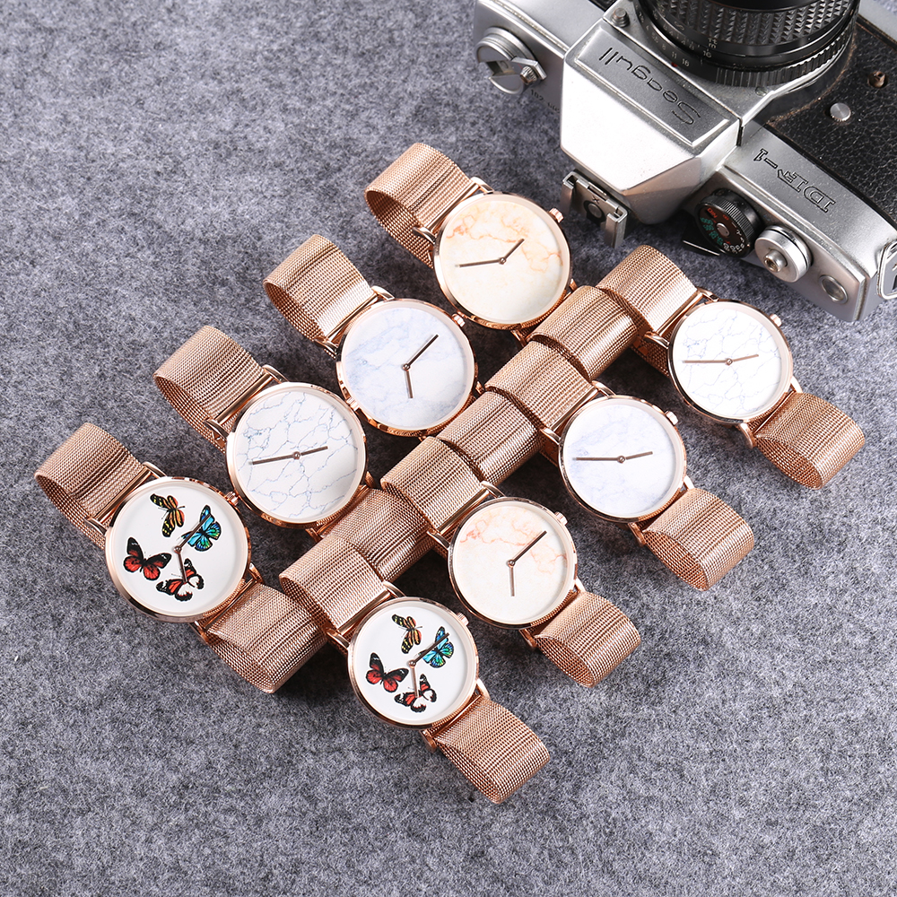 drop shipping rose gold ultra thin case watches womens wristwatches quartz watch for men imitate marble pattern dial rose gold stainless steel elogio feminino montre femme free ship (55)